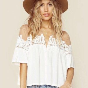 For Love and Lemons Carmine Top White XS